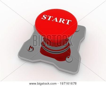 start button metal  . 3d rendered illustration