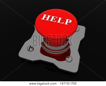 help button metal  . 3d rendered illustration