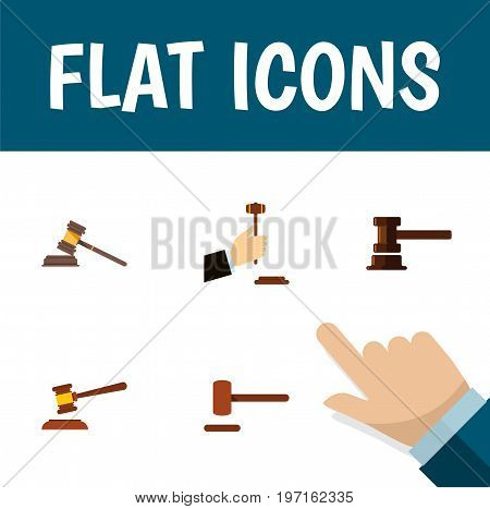 Flat Icon Lawyer Set Of Law, Defense, Hammer And Other Vector Objects