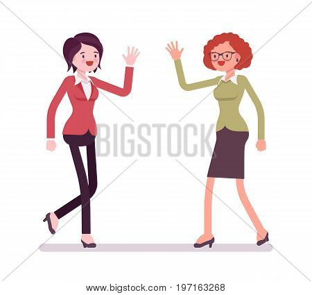 Businesswomen greeting with hands. Friendly and polite informal way meeting, corporate occasion cheer, Business relations concept. Vector flat style cartoon illustration, isolated, white background