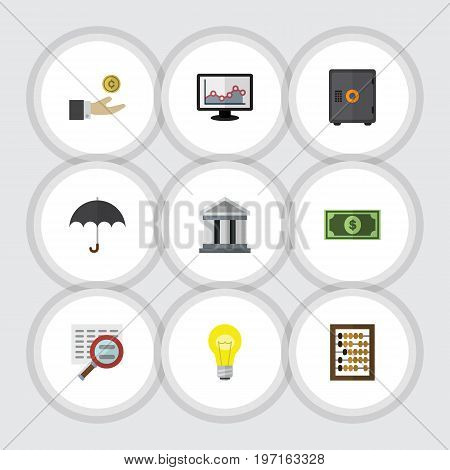 Flat Icon Gain Set Of Bank, Greenback, Chart And Other Vector Objects