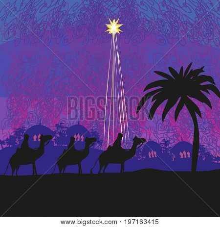 Classic three wise men scene and shining star of Bethlehem , vector illustration