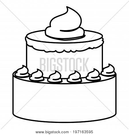 sketch contour of hand drawing two-story cake with buttercream decorative vector illustration