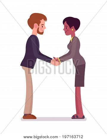 Businessman, businesswoman hands handshake. Office behavior rules of conduct, cross-cultural perspectives. Business manner concept. Vector flat style cartoon illustration, isolated, white background