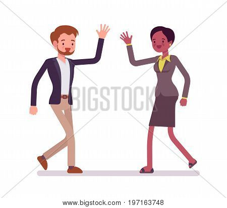 Businessman and businesswoman greeting. Intercultural friendship, friendly partners, professional conduct. Business manner concept. Vector flat style cartoon illustration, isolated, white background
