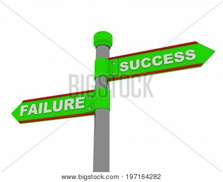 failure success roadsign . 3d rendered illustration