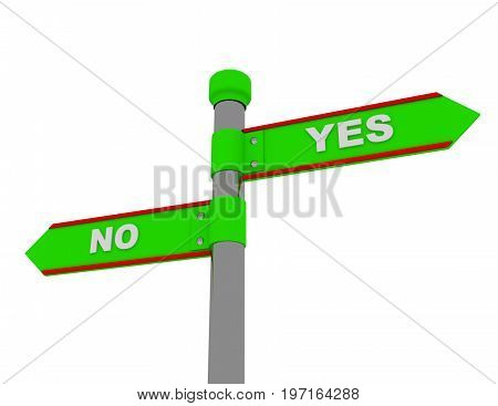 yes no roadsign . 3d rendered illustration