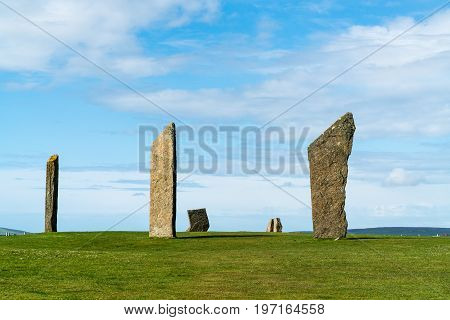 Six of the standing stones of Stenness a neolithic henge monument on the Isle of OrkneyScotland UK near the Ring of Brodgar and Maeshowe