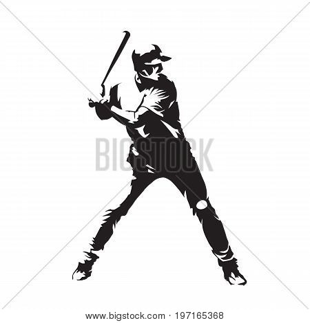 Baseball player, batter, standing and waiting for ball, abstract vector silhouette