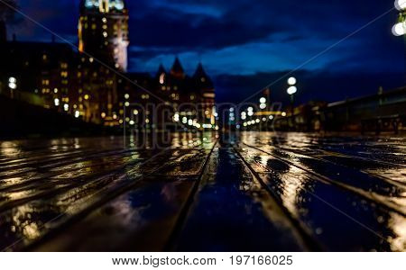 Quebec City, Canada - May 30, 2017: Old Town Closeup View Of Wet Dufferin Terrace At Night With Chat