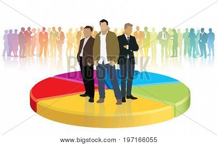 Three businessmen standing on a large graph conceptual business illustration.
