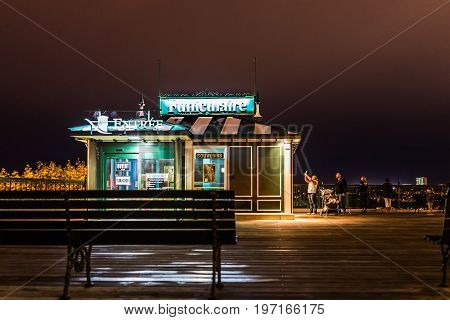 Quebec City, Canada - May 30, 2017: Old Town Closeup View Of Dufferin Terrace At Night With Purple S