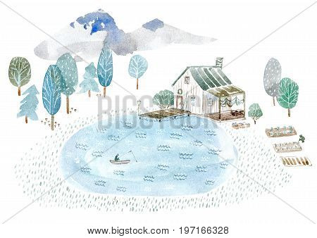 Landscape of a fisherman's house and garden. Mountain, forest and lake.Watercolor hand drawn illustration.