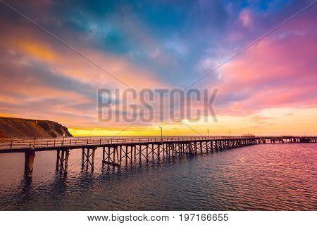 Rapid bay jetty at sunset Fleurieu Peninsula South Australia