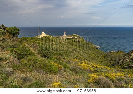 Lighthouse Cape Bear in southern France, near Port Vendres