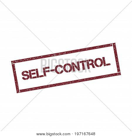 Self-control Rectangular Stamp. Textured Red Seal With Text Isolated On White Background, Vector Ill