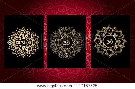 set, mandala tattoo. Buddhism, om sign. Luxurious ideas for tattoo, gold pattern