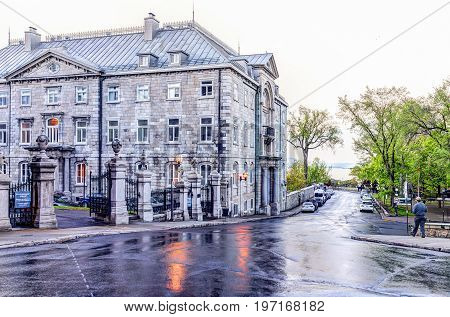 Quebec City, Canada - May 31, 2017: Old Town Street With Seminary And Rue Port Dauphin With Reflecti