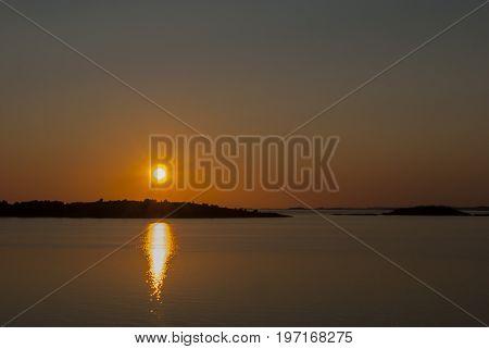 Sunset outside Gothenburg in summer, nature background