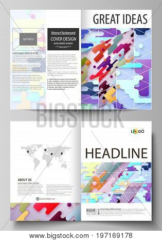 Business templates for bi fold brochure, magazine, flyer, booklet or annual report. Cover design template, easy editable vector, abstract flat layout in A4 size. Bright color lines and dots, colorful minimalist backdrop with geometric shapes forming beaut