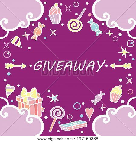 Giveaway, banner with clouds on the purple background / Giveaway banner, freehand style, great for social media