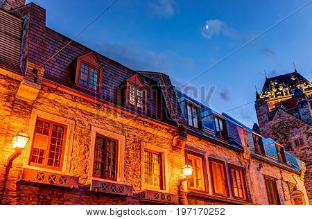 Quebec City, Canada - May 31, 2017: Lower Old Town Cobblestone Street Called Sous Le Fort With View