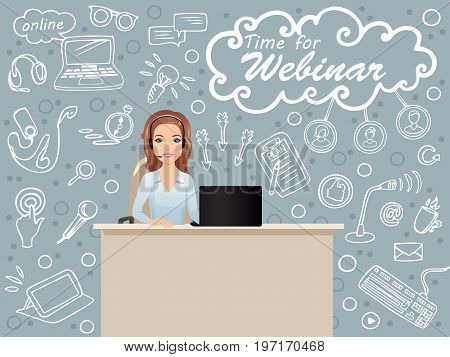 Cute smiling woman sitting at a table in the workplace holds a webinar/ public speaker, coach, online education, e-learning. Flat design, vector cartoon illustration.