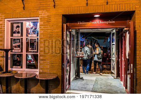 Quebec City, Canada - May 31, 2017: Lower Old Town Street Rue Du Petit Champlain With Theater At Nig