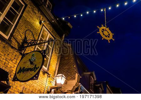 Quebec City, Canada - May 31, 2017: Lower Old Town Street Rue Du Petit Champlain With Hanging Decora