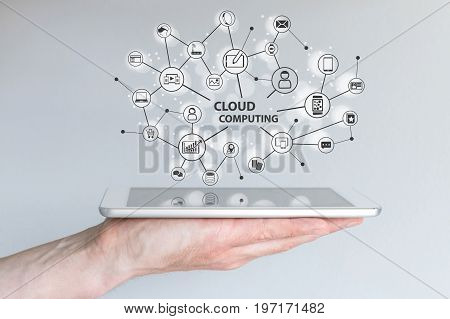 Cloud computing and mobile computing concept. Hand holding tablet or smart phone