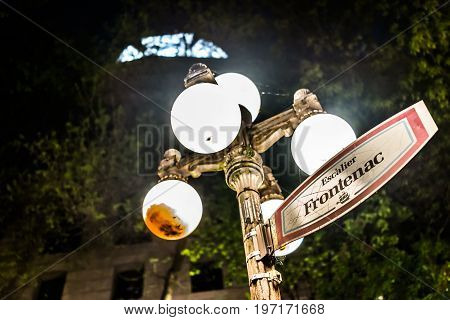 Quebec City, Canada - May 31, 2017: Sign By Illuminated Lantern For Lower Old Town Street Called Esc