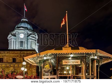 Quebec City, Canada - May 31, 2017: Old Town Night View With Illuminated Funiculaire Frontenac Build
