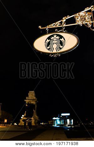 Quebec City, Canada - May 31, 2017: Closeup Of Starbucks Cafe Restaurant Sign On Chateau Frontenac A