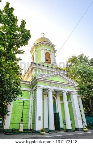 Odessa, Ukraine - July 15, 2016: Cathedral of Holy Trinity, Odessa, Ukraine. Wooden church rebuilt as  the stone temple in 1804.