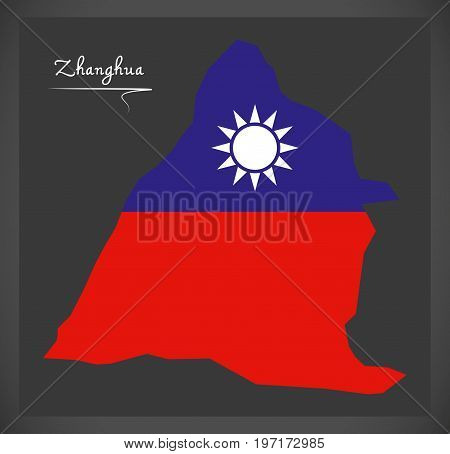 Zhanghua Taiwan Map With Taiwanese National Flag Illustration
