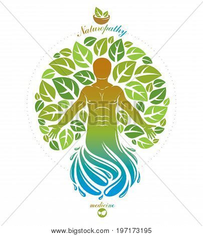 Vector illustration of individual mystic character depicted as continuation of tree and deriving from water whirlpool. Medical rehabilitation metaphor.