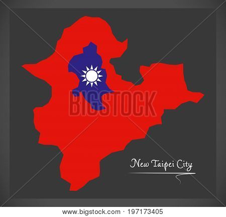 New Taipei City Taiwan Map With Taiwanese National Flag Illustration