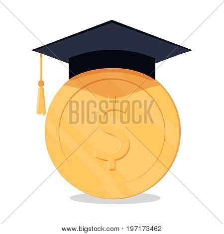 investment in education concept. Conception of education fee education expenses school tuition cost graduation cap with coin. vector illustration in flat style. Business education
