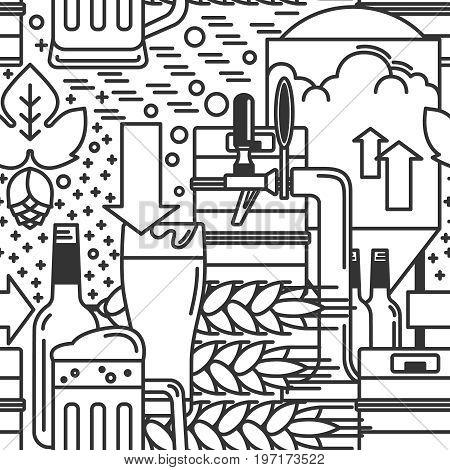 Beer mug, glass, tap, keg, bottle, malt, hops. Seamless pattern. Vector illustration.