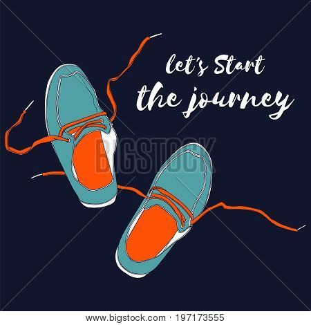Moccasins with loose braids. Hand drawn vector illustration.
