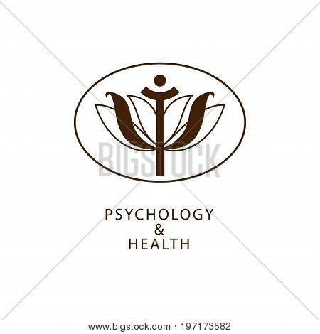 Vector symbol of psychology combined with a sign of health. Stylized image of the lotus and letter of the Greek alphabet.