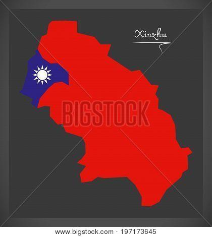 Xinzhu Taiwan Map With Taiwanese National Flag Illustration