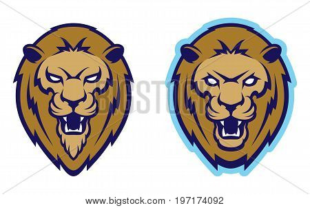Roaring lion head mascot. Label, logotype for college team.