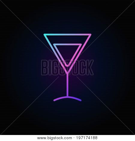 Colorful martini glass vector icon - minimal outline symbol or design element on dark background