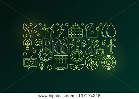 Eco green energy colorful vector illustration in thin line style on dark background