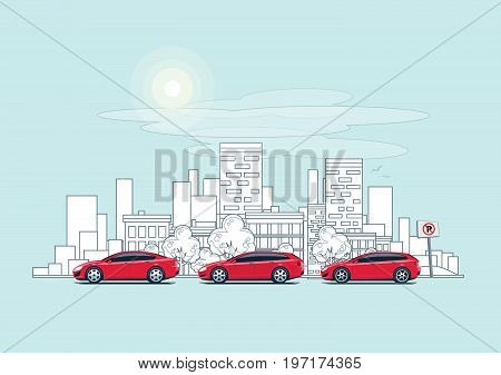 Cars Parking On The Street With Outline City Background