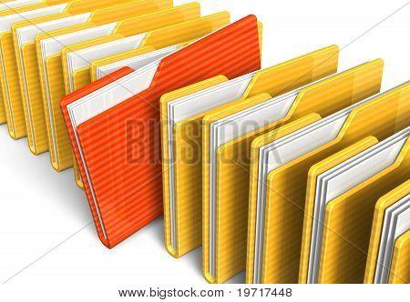 Fila de carpetas de archivo