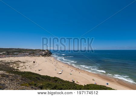 Aljezur Portugal - July 6 2017: The Monte Clerigo Beach (Praia do Monte Clerigo) in Aljezur Portugal