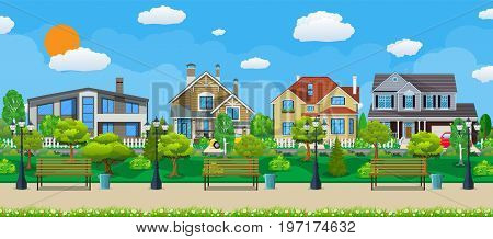 Suburb concept, wooden bench, street lamp, waste bin in square. Cityscape with buildings and trees. Leisure time in summer city park. Vector illustration in flat style