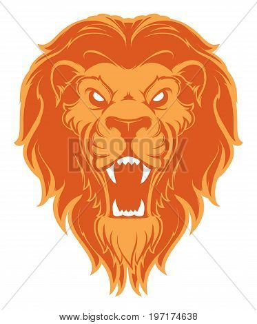 Roaring lion head mascot. Label. Logotype. Isolated on white background